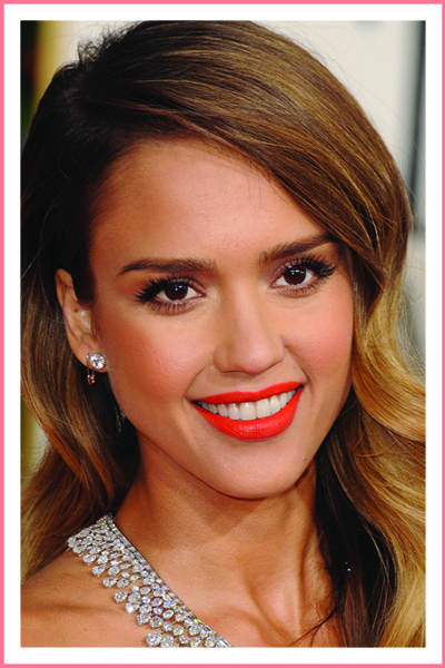 jessica-alba-orange-lipstick-medium-skin-tone