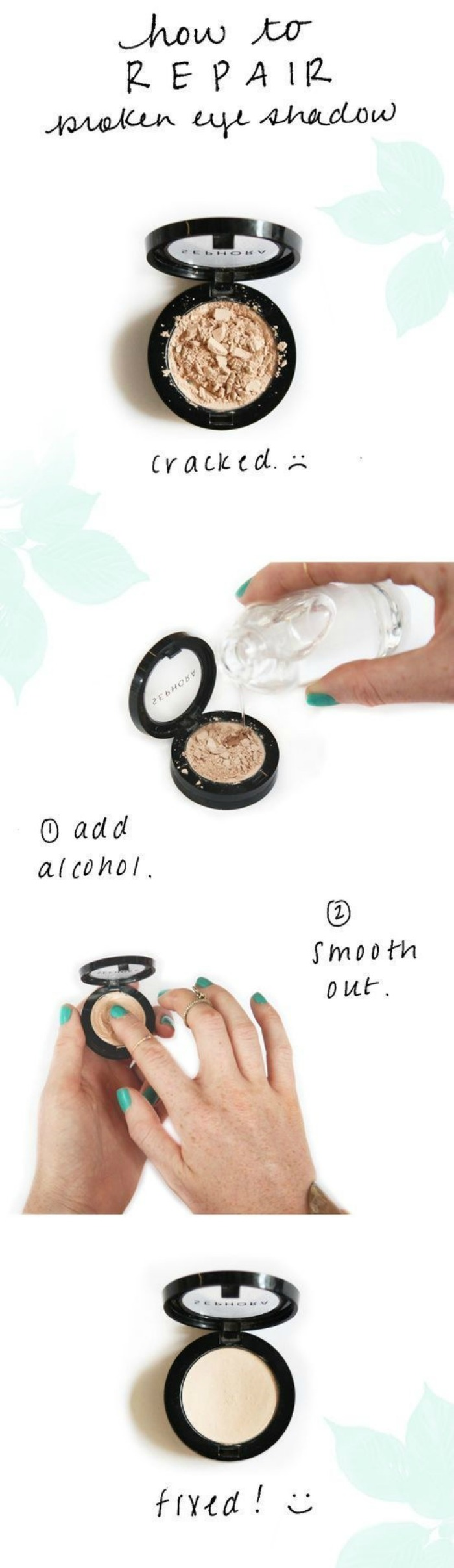 Save Broken Makeup with Rubbing Alcohol
