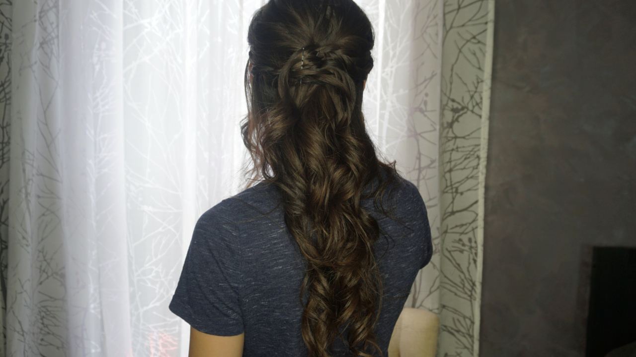 Braided Half Updo And Romantic Curls