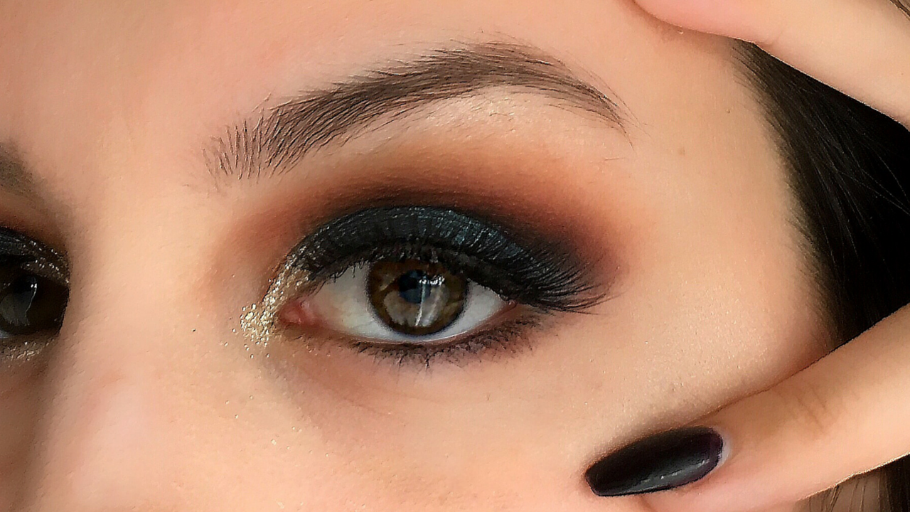 teal and orange makeup