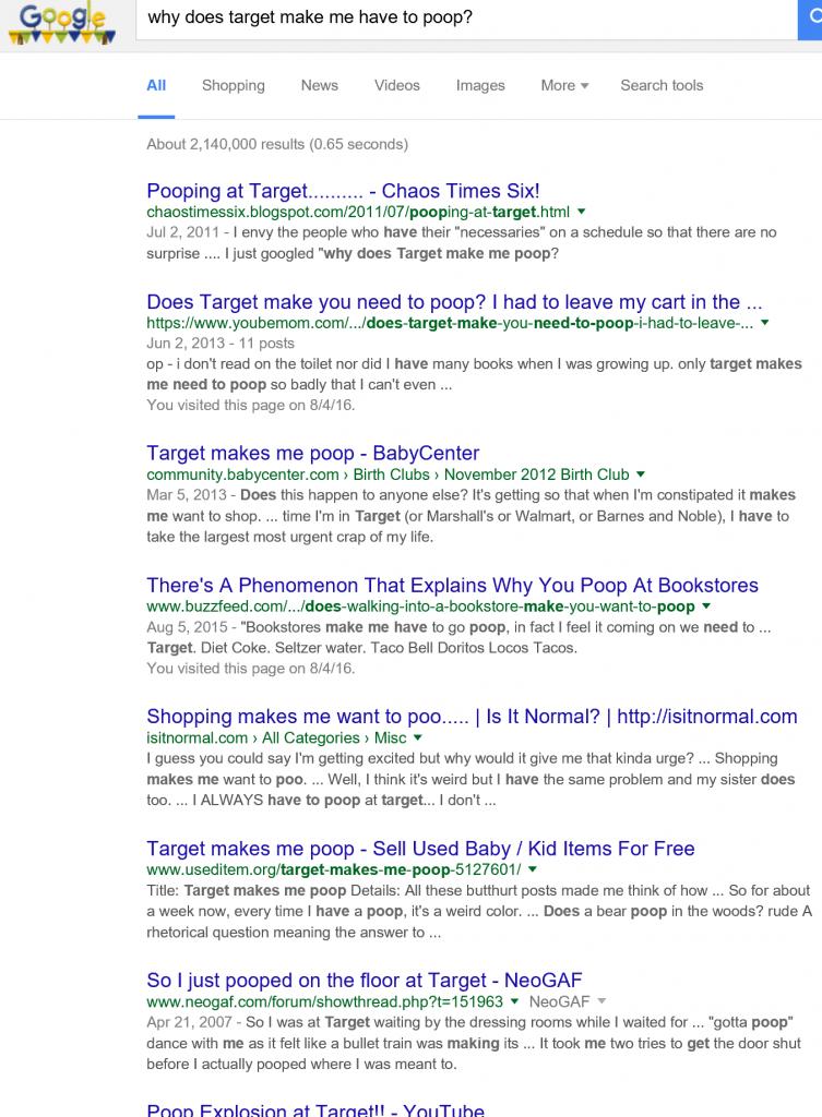 target makes me poop
